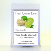 2 Fresh Ginger Lime Vase Candle Melts | 80ml Premium Highly Scented Soy Paraffin Wax Tarts | 50 Hours