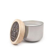 Paddywax Foundry Soy Wax Candle Tin with Wood Lid, Olive Tree and Thyme, 150ml, Silver