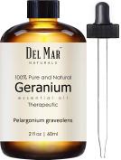 Del Mar Naturals Geranium Oil; 100% Pure and Natural, Therapeutic Grade Geranium Essential Oil, 60ml