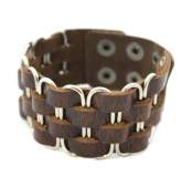 """Bold"" Leather Cuff Essential Oil Bracelet- Unisex- Brown- Silver"