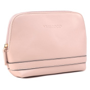 Cosmetic Bag, YM & COCO Leather Makeup Bag Portable Toiletry Travel Bag Pouch Case Pink