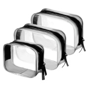 BBTO 3 Pieces PVC Travel Toiletry Bag Cosmetic Bags Organisers Makeup Bags with Zipper for Men's Women's Travel Toiletry Kit, Clear