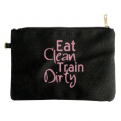 Travel Makeup Bag - Extra Large Canvas Travel Makeup Bag With Eat Clean Train Dirty