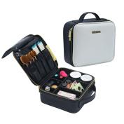 Makeup Train Case, OR Pure Professional Makeup Case,Portable Travel Makeup Cosmetic Bag Makeup Brush Holder with Adjustable Divider MakeUp Artist Organiser Bag Toiletry Storage Case