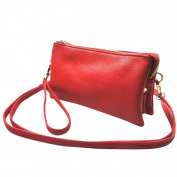 Mootime Women Detachable Strap - Multi-function Zippered Travel Makeup Purse Red