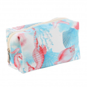 Sealife Print Vinyl Makeup Cosmetic Accessory Bag