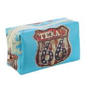 Route 66 Texas Vinyl Makeup Cosmetic Accessory Bag