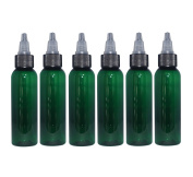 (Pack of 6) - 60ml Green Cosmo Bullet. Refillable, Empty PET Plastic Bottles w/ Black Yorker Twist Open Squeeze Top – Mfg. USA