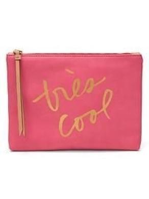 "Banana Republic ""Très Cool"" Clutch Leather Bag, Pink/Gold"