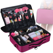Voilamart Portable Professional Makeup Case w/ Shoulder Strap 3 Layer EVA D.I.Y Train Case/Makeup Artist Organiser for Makeup Brush Cosmetics Nail Beauty Tool Attach on the Trolley for Travel -Pink