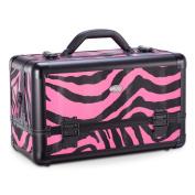 Professional Makeup Artist Beauty Aluminium Makeup Train Case w/ Brush Holder and Optional Removable Shoulder Strap