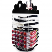 Ikee Design Princess Tiara Design Acrylic Rotating Makeup Organiser Makeup Holder Stand Home Organiser Lipstick Rack Eye Shadow Palettes Holder-Black 14cm W x 14cm D x 35cm H