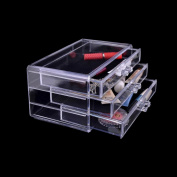 Tharv 3 Drawers Clear Dustproof Makeup Storage Box | Cosmetic Rack Organiser | Acrylic Brush Lipstick Container Sorting Box | 24x15x11cm