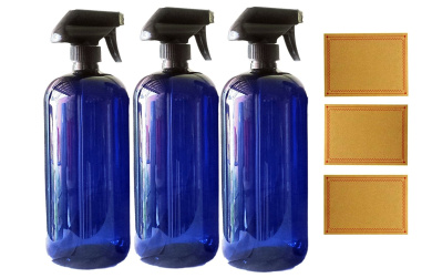 950ml Blue Plastic PET Plastic Bottle with Black Hand Lotion Pump or Trigger Spray and Kraft Labels
