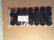 20 Containers 5mL Black LIDS Plus 2.5cm Green Cross Labels