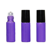 Purple Glass Roller Bottles 10 Pcs Empty Refillable Perfume Roll on Bottles Travel Fragrance Essential Oil Lip Balms Cosmetic Metal Rollerball Bottles Container With Black Plastic Caps