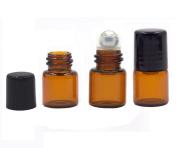 25 x Empty Glass Roll-on Bottles Refillable Essential Oil Perfume Aromatherapy Lip Balms Metal Roller Ball Bottles Separation Glass Roller Bottles
