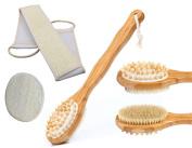Attitu 3-Pcs Bath Brush Set Long Handle Natural Boar Bristles-Brush & Exfoliating Back Scrubber, Loofah Sponge Pads- Men and Women