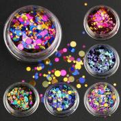 6 Bottles/set Nail Art Glitter Sequins Colour Mixed Nail Glitter Powder Women Nail Decoration Manicure Tools