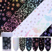 CoulorButtons 6 Rolls 4100cm Christmas Snowflake Star Holo Starry Nail Foil Nail Art Transfer Sticker