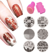Nail Sticker, Kapmore 6 Pcs Christmas Nail Sticker Snowflake Flower Nail Decals with Nail Stamper and Scraper