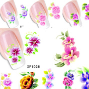 20sheets Flower Water Transfer Stickers Nail Art Tips Decals Tattoo Watermark Temporary DIY Beauty Nail Tools