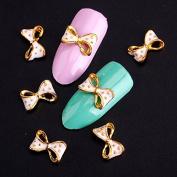 10Pcs/Lot 3D Nail Art Decorations Glitter Crystal Bow-knot Studs Design Nail Art Tips Craft DIY Accessories Tips