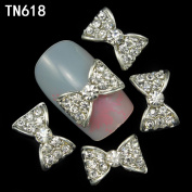 10pcs 3d alloy nails art decoration bow design nail glitter rhinestone stickers nail tools