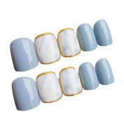 JINDIN 24 Sheet Short Size Full Nail Tips Fake Nails with Shiny Golden Edge Design For Lady