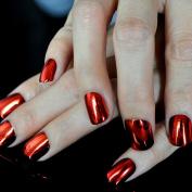 Flat Top Metallic False Nail Tips Sexy Mirror Shine Surface Hot Red Middle Nail Design Finger Nails N09