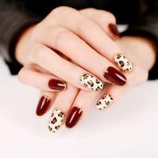 YUNAI 24Pcs/set Wine Red with Leopard Pattern Fake Nails Cute False Nails Set Round Full Nail Tips Nail Art Tool Makeup
