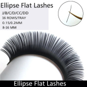 TDANCE 16 Rows Ellipse Eyelash Extensions 0.2mm D Curl 16mm Flat Eyelash Extension Light Lashes Individual Eyelashes Salon Use Black Mink False Lashes Mink lashes Extensions