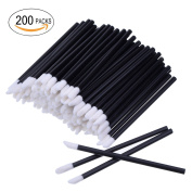 200pcs Black Disposable Lipstick Wands Lip Gloss Applicators Cotton Swabs Makeup Brushes Tool
