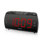 DreamSky Alarm Clock Radio With FM Radio And USB Port For Phone Charger , 4.6cm Large LED Digit Display With Dimmer , Snooze , Sleep Timer , Earphone Jack, DC Powered And Battery Backup .