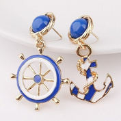 Fashion Ladies Jewellery New Anchor Rudder Earrings Naval Wind Anchor High Grade Alloy Girl Earrings