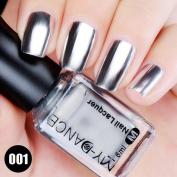 VESNIBA Flow Gold Mirror Chrome Effect Nail Polish Foil Nails Art Glitter Silver