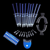 Finlon Teeth Whitening Kit-Dental Bleaching System Oral Gel Kit Tooth Whitener- Includes 10 Whitening Gel, 2 Whitening Trays, 1 Laser Light and 1Teeth Shade Guide for Faster Results
