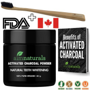Best Natural Teeth Whitening Activated Charcoal Powder In Bulk (50g) + FREE Bamboo Toothbrush + FREE Benefits of Activated Charcoal eBook Value Pack| FDA Approved & Food Grade| No Hardwood used