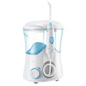 ElleSye Water Flosser, Oral Irrigator, Dental Care, with 9 Tips, 10 Stepless Water Pressure Settings, 25-120psi Adjustable, 600ml Reservoir for Family Use - White