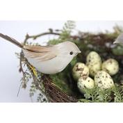 MonkeyJack Plastic Bird Nest 2Pieces Artificial Feather Foam Birds 5Pices Yellow Birds Eggs Set Nature Craft Home Tree Decor