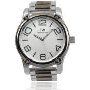 Territory Men's Quartz Round Face Metal Link Fashion Watch, Silver/Gunmetal