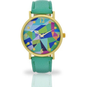 Women's Mint Abstract Dial Watch, Faux Leather Band