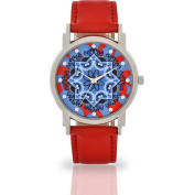 Women's Red Flower Dial Watch, Faux Leather Band