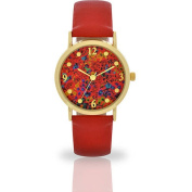 Women's Red Floral Dial Watch, Faux Leather Band
