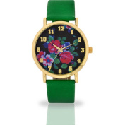 Women's Green Floral Dial Watch, Faux Leather Band