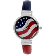 Brinley Co. Women's American Flag Round Face Cuff Fashion Watch