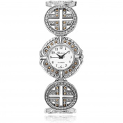 Brinley Co. Women's Marcasite Round Face Bracelet Fashion Watch, Silver