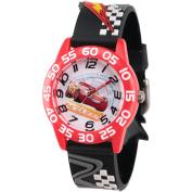 Disney Cars 3 Lightning McQueen Boys' Red Plastic Time Teacher Watch, 3D Black Plastic Strap