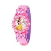 Disney Belle Girls' Plastic Case Watch, Printed Plastic Strap