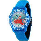 Disney Finding Dory, Hank and Dory Boys' Blue Plastic Time Teacher Watch, Reversible Blue and Black Nylon Strap